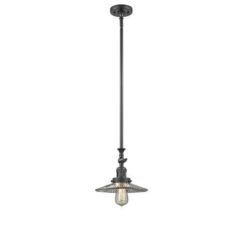 Innovations Lighting Halophane Oiled Rubbed Bronze 12-Inch One-Light Mini Pendant with Halophane Cone Glass