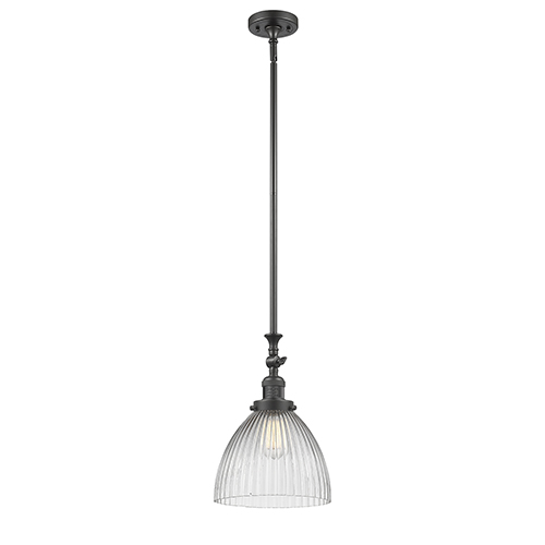 Innovations Lighting Seneca Falls Oiled Rubbed Bronze LED Mini Pendant with Clear Dome Glass