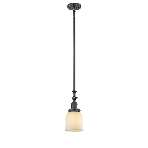 Innovations Lighting Small Bell Oiled Rubbed Bronze 14-Inch LED Mini Pendant with Matte White Cased Bell Glass