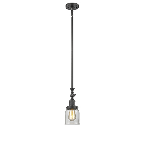Small Bell Oiled Rubbed Bronze 14-Inch LED Mini Pendant with Clear Bell Glass