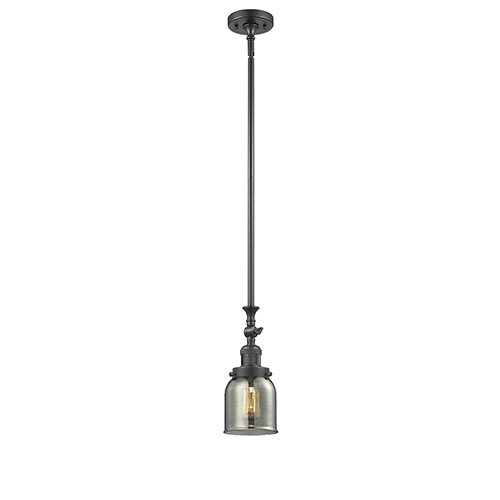 Small Bell Oiled Rubbed Bronze 14-Inch LED Mini Pendant with Smoked Bell Glass