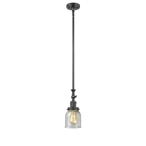 Innovations Lighting Small Bell Oiled Rubbed Bronze 14-Inch LED Mini Pendant with Seedy Bell Glass
