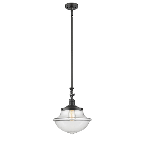 Innovations Lighting Oxford School House Oiled Rubbed Bronze 15-Inch One-Light Pendant with Clear Bell Glass