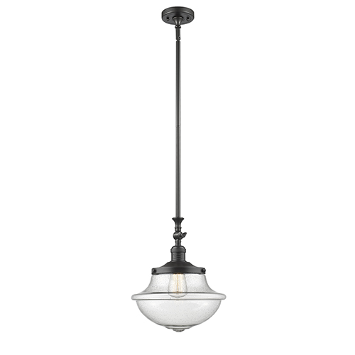 Innovations Lighting Oxford School House Oiled Rubbed Bronze 15-Inch LED Pendant with Seedy Bell Glass