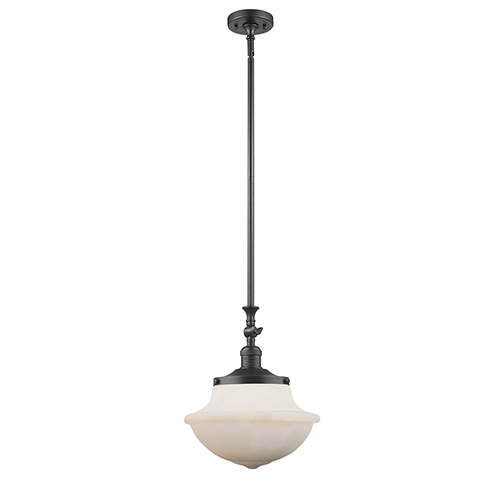 Oxford School House Oiled Rubbed Bronze 15-Inch One-Light Pendant with White Bell Glass