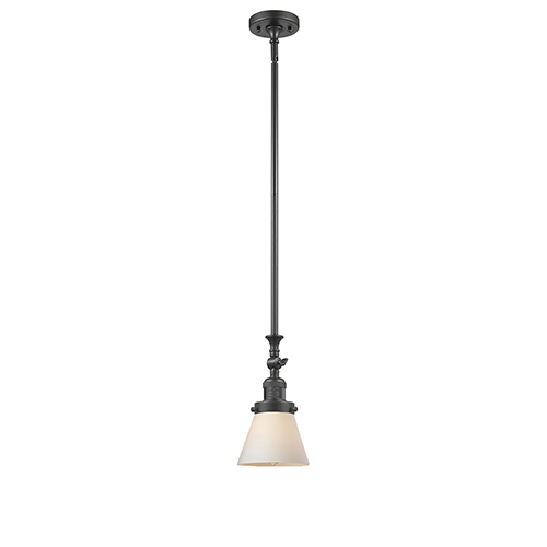 Innovations Lighting Small Cone Oiled Rubbed Bronze 14-Inch LED Mini Pendant with Matte White Cased Cone Glass