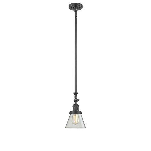 Innovations Lighting Small Cone Oiled Rubbed Bronze 14-Inch LED Mini Pendant with Clear Cone Glass