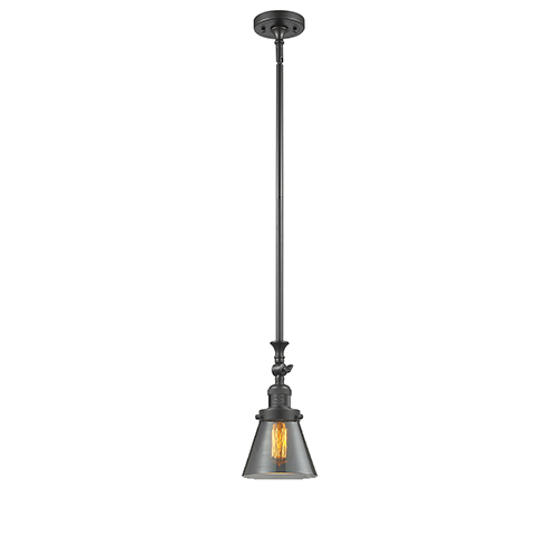 Innovations Lighting Small Cone Oiled Rubbed Bronze 14-Inch LED Mini Pendant with Smoked Cone Glass