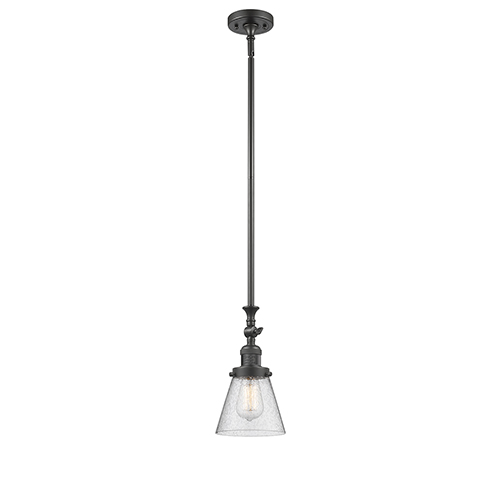 Innovations Lighting Small Cone Oiled Rubbed Bronze 14-Inch LED Mini Pendant with Seedy Cone Glass