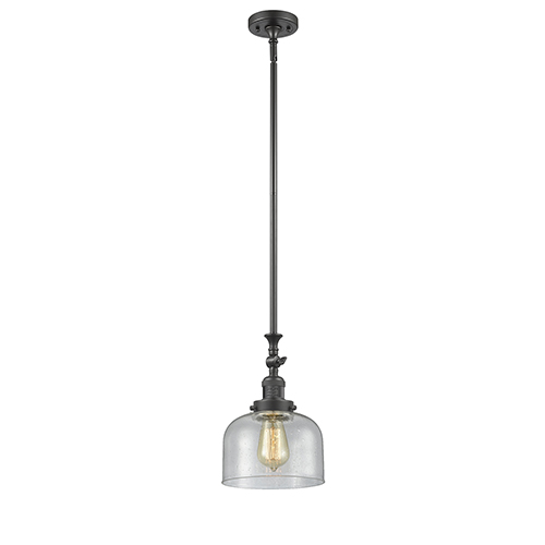 Innovations Lighting Large Bell Oiled Rubbed Bronze 14-Inch One-Light Mini Pendant with Seedy Dome Glass
