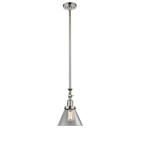 Large Cone Polished Nickel 14-Inch LED Mini Pendant with Clear Cone Glass