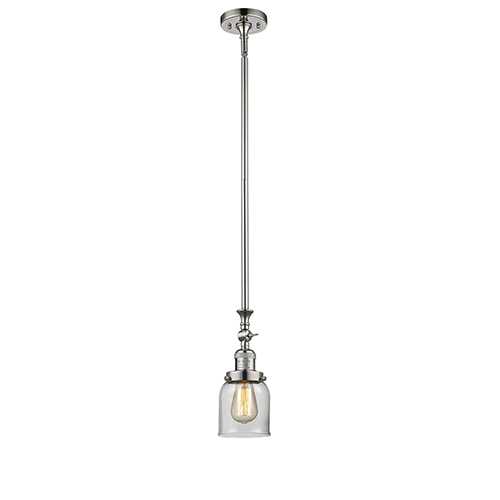 Innovations Lighting Small Bell Polished Nickel 14-Inch One-Light Mini Pendant with Clear Bell Glass