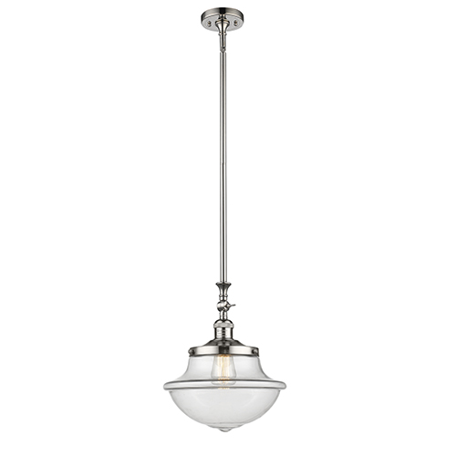 Oxford School House Polished Nickel 15-Inch LED Pendant with Clear Bell Glass