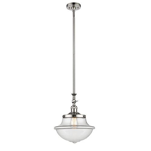 Oxford School House Polished Nickel 15-Inch One-Light Pendant with Clear Bell Glass