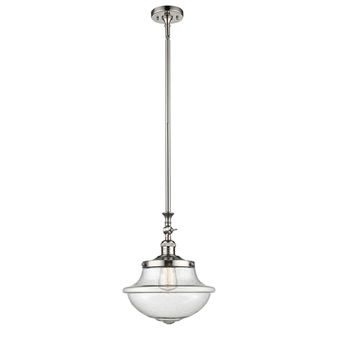 Innovations Lighting Oxford School House Polished Nickel 15-Inch LED Pendant with Seedy Bell Glass