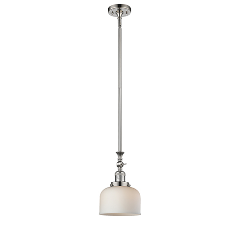 Innovations Lighting Large Bell Polished Nickel 14-Inch One-Light Mini Pendant with Matte White Cased Dome Glass
