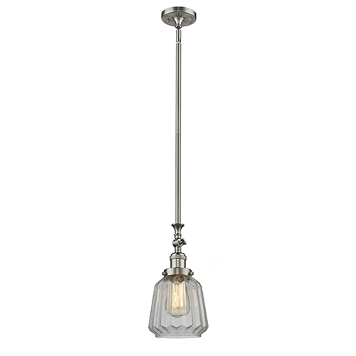 Innovations Lighting Chatham Brushed Satin Nickel 14-Inch One-Light Mini Pendant with Clear Fluted Novelty Glass