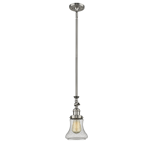 Innovations Lighting Bellmont Brushed Satin Nickel 14-Inch LED Mini Pendant with Seedy Hourglass Glass