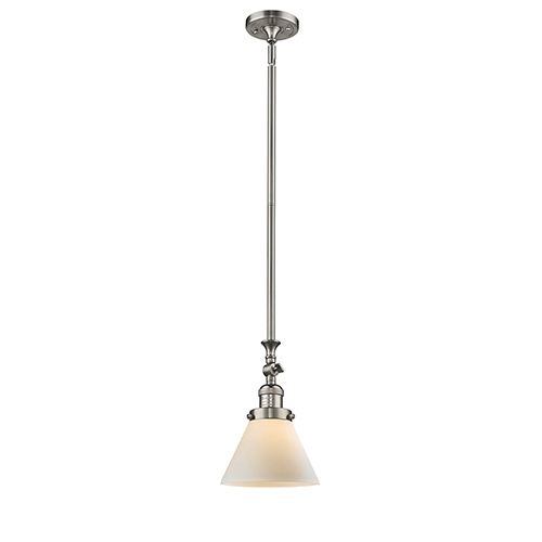 Innovations Lighting Large Cone Brushed Satin Nickel 14-Inch One-Light Mini Pendant with Matte White Cased Cone Glass