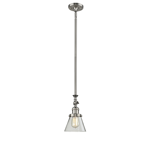 Innovations Lighting Small Cone Brushed Satin Nickel 14-Inch One-Light Mini Pendant with Clear Cone Glass