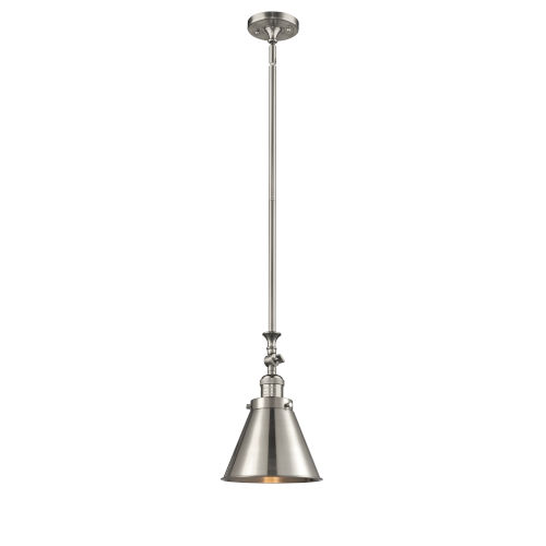 Franklin Restoration Brushed Satin Nickel LED Mini Pendant with Appalachian Brushed Satin Nickel Metal Shade and Wire