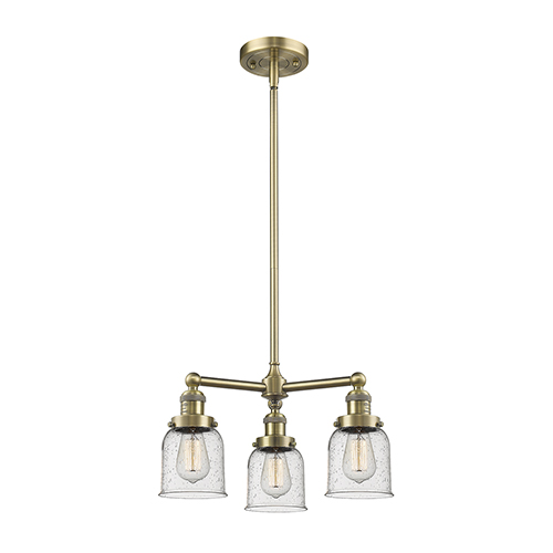 Small Bell Antique Brass Three-Light Chandelier with Seedy Bell Glass