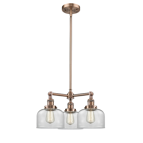 Large Bell Antique Copper Three-Light Chandelier with Clear Dome Glass