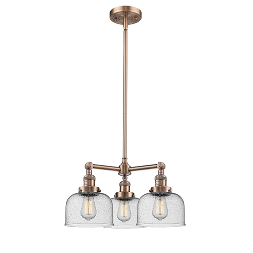 Innovations Lighting Large Bell Antique Copper Three-Light Chandelier with Seedy Dome Glass