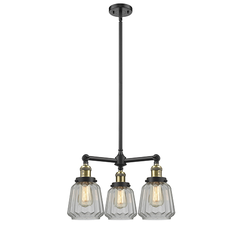 Innovations Lighting Chatham Black Antique Brass Three-Light Chandelier with Clear Fluted Novelty Glass