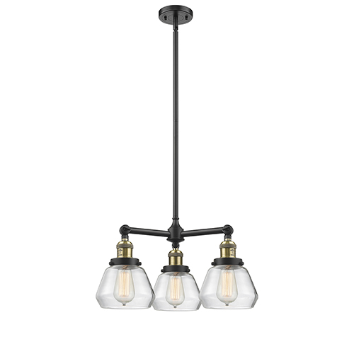 Innovations Lighting Fulton Black Antique Brass Three-Light Chandelier with Clear Sphere Glass