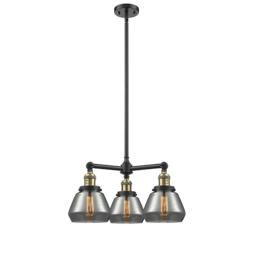 Innovations Lighting Fulton Black Antique Brass Three-Light LED Chandelier with Smoked Sphere Glass