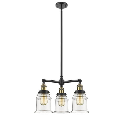 Innovations Lighting Canton Black Antique Brass Three-Light Chandelier with Clear Bell Glass