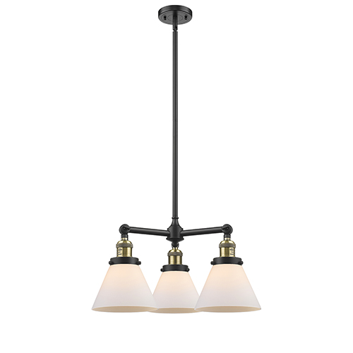 Innovations Lighting Large Cone Black Antique Brass Three-Light LED Chandelier with Matte White Cased Cone Glass