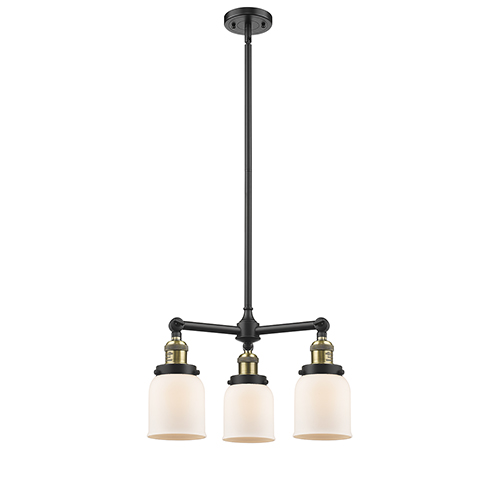Small Bell Black Antique Brass Three-Light LED Chandelier with Matte White Cased Bell Glass