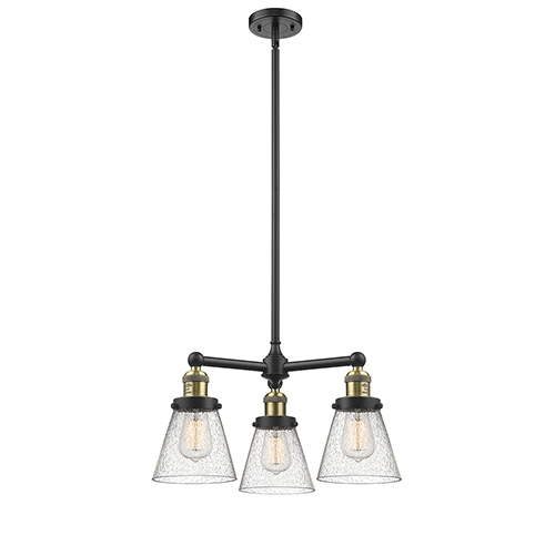 Small Cone Black Antique Brass Three-Light LED Chandelier with Seedy Cone Glass