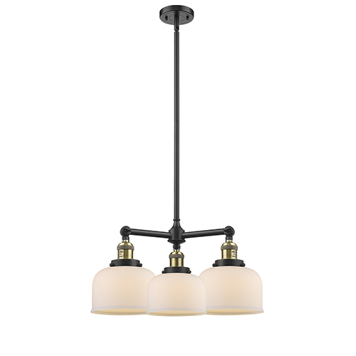 Large Bell Black Antique Brass Three-Light Chandelier with Matte White Cased Dome Glass