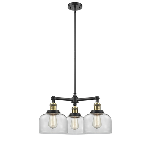 Innovations Lighting Large Bell Black Antique Brass Three-Light Chandelier with Clear Dome Glass