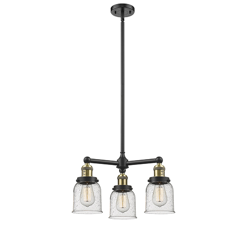 Small Bell Black Brushed Brass Three-Light LED Chandelier with Seedy Bell Glass