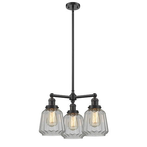 Innovations Lighting Chatham Oiled Rubbed Bronze Three-Light Chandelier with Clear Fluted Novelty Glass
