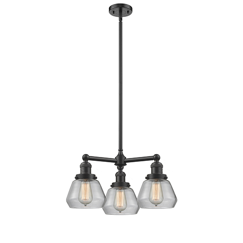 Innovations Lighting Fulton Oiled Rubbed Bronze Three-Light LED Chandelier with Clear Sphere Glass