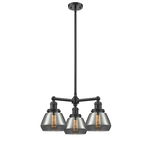 Innovations Lighting Fulton Oiled Rubbed Bronze Three-Light LED Chandelier with Smoked Sphere Glass
