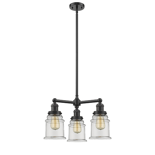 Innovations Lighting Canton Oiled Rubbed Bronze Three-Light LED Chandelier with Clear Bell Glass