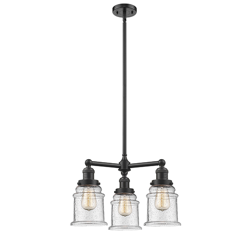 Innovations Lighting Canton Oiled Rubbed Bronze Three-Light LED Chandelier with Seedy Bell Glass