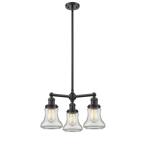 Innovations Lighting Bellmont Oiled Rubbed Bronze Three-Light LED Chandelier with Clear Hourglass Glass