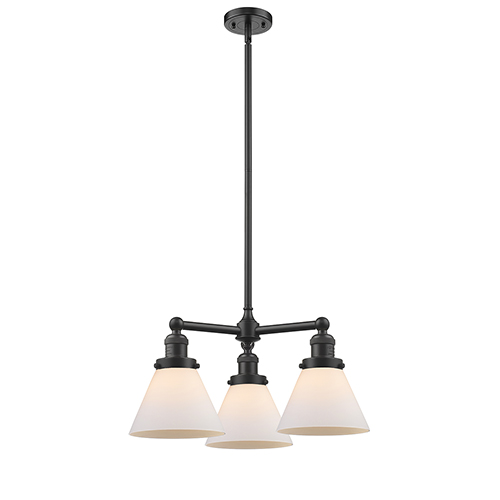 Innovations Lighting Large Cone Oiled Rubbed Bronze Three-Light LED Chandelier with Matte White Cased Cone Glass