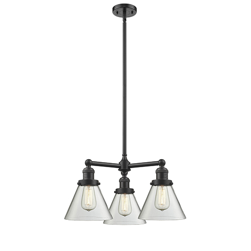 Large Cone Oiled Rubbed Bronze Three-Light LED Chandelier with Clear Cone Glass