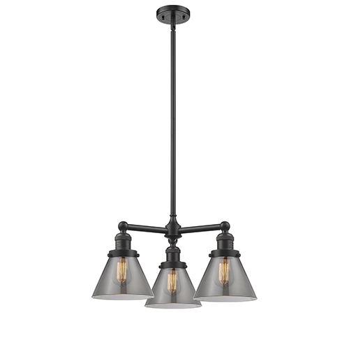 Large Cone Oiled Rubbed Bronze Three-Light Chandelier with Smoked Cone Glass