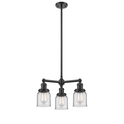 Innovations Lighting Small Bell Oiled Rubbed Bronze Three-Light LED Chandelier with Clear Bell Glass