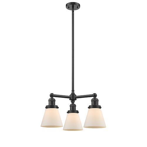 Small Cone Oiled Rubbed Bronze Three-Light Chandelier with Matte White Cased Cone Glass