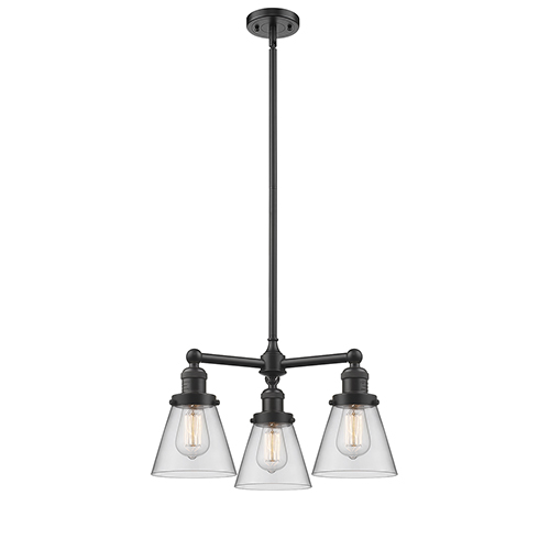 Innovations Lighting Small Cone Oiled Rubbed Bronze Three-Light Chandelier with Clear Cone Glass
